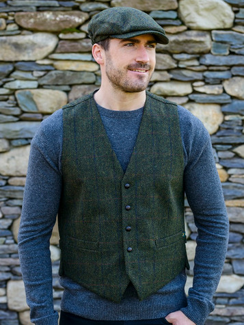 Irish Tweed Herringbone Waistcoat - Forest Green