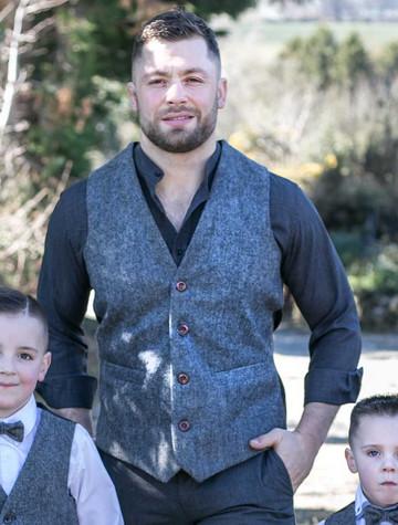 Handmade Irish Tweed Waistcoat - Grey Herringbone