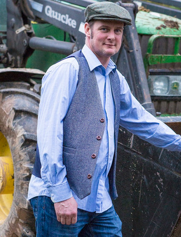 Handmade Irish Tweed Waistcoat - Navy Herringbone