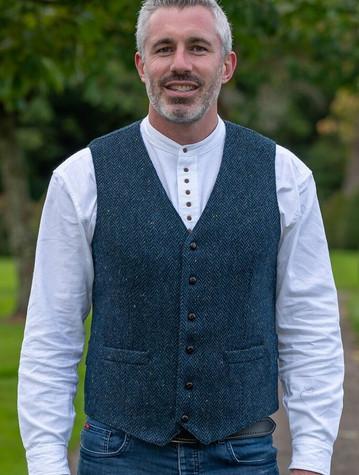 WB Yeats Blue Herring tweed waistcoat