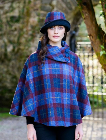 Ladies Tweed Clodagh Cap - Navy Red Plaid