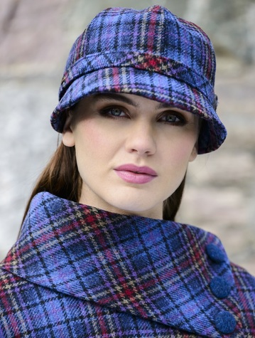 Ladies Tweed Flapper Cap - Camel Red & Blue Plaid