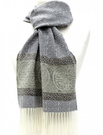 GlenAran Celtic Border Pattern Scarf - Alpine Slate