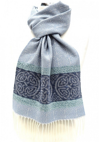 GlenAran Celtic Border Pattern Scarf - Alaska Blue