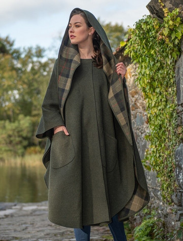 Moss Green Pure Wool Country Walking Cape
