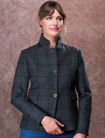 Donna Tweed Blazer – Teal Earth