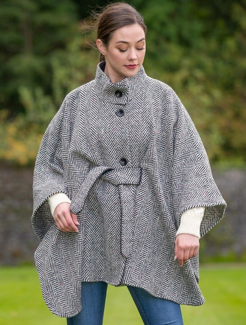 Belted Black & White Tweed Herringbone Cape