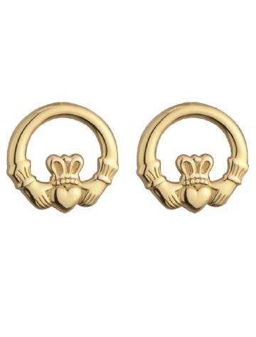 9K Gold Light Claddagh Stud Earrings