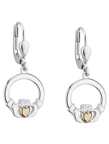 10K GOLD HEART CLADDAGH DROP EARRINGS