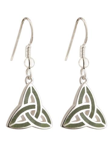 Sterling Silver Connemara Trinity Knot Drop Earrings