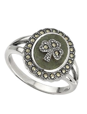 Marcasite Shamrock Connemara Marble Ring