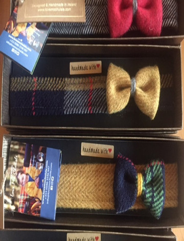 Girls Irish Tweed Hairband Plaid Herringbone with Mustard Bow