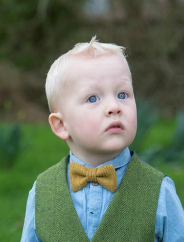 Boys Mustard Herringbone Bow Tie