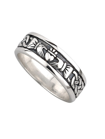 Gents Silver Oxidised Claddagh Ring