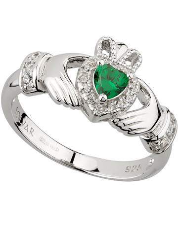 Green Cubic Zirconia Claddagh Ring