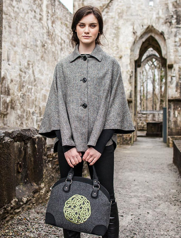 Celtic Tote Bag - Charcoal with Green