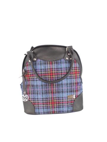 Abbie Tweed & Leather Bag - Camel Red & Blue Plaid