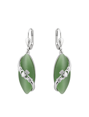 RHODIUM CLADDAGH gREEN CAT EYE DROP EARRINGS