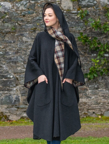 Donegal Tweed Pure Wool Country Walking Cape - Charcoal