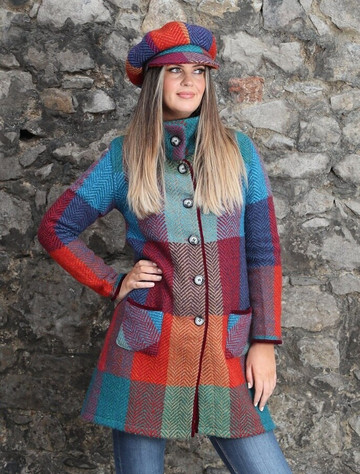 Emma Tweed Herringbone Coat - Donegal Red