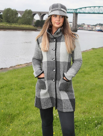 Emma Tweed Herringbone Coat - Donegal Grey
