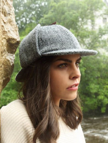 Sherlock Tweed Hat - Grey Herringbone