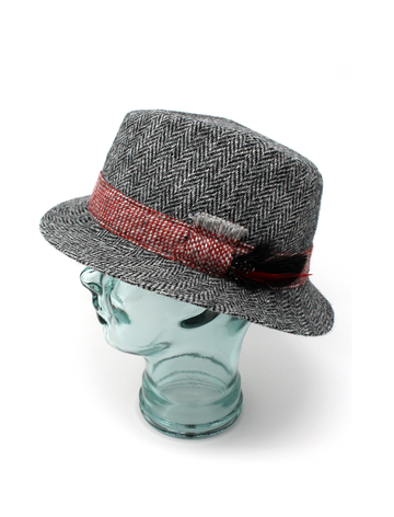 John Hanna Tweed Walking Hat- Black and Grey Herringbone