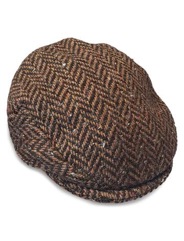 Children's Flat Cap Tweed - Brown Checked
