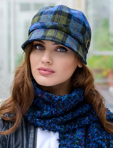 Ladies Tweed Flapper Cap - Blue Green Plaid