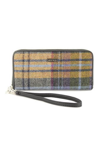 Mucros Tweed Purse - Mustard  & Charcoal Plaid