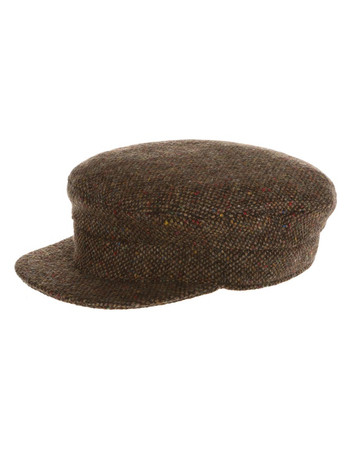 Tweed Skipper Cap- Brown Fleck Salt & Pepper