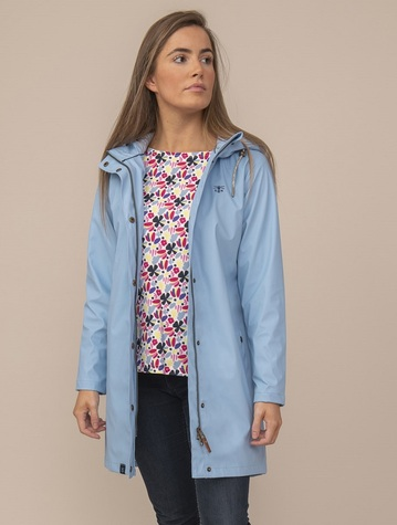 Bowline Ladies 3/4 Waterproof Coat - Bluebell