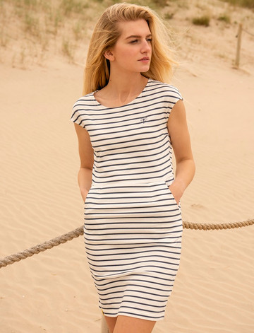 Liliana Cotton Short Sleeve Dress -  Midnight Stripe