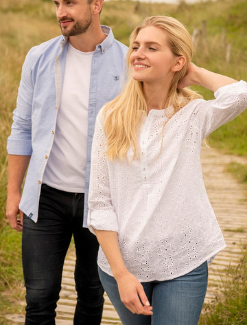 Bayside Ladies Cotton Shirt -  Broderie Anglaise