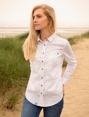 Ocean Ladies Cotton Shirt - Oxford Spot