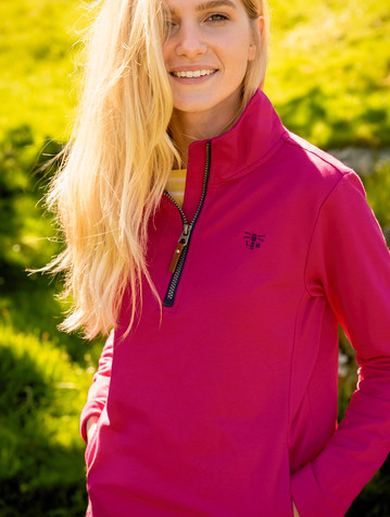 Ladies Shore Half Zip Sweater - Raspberry