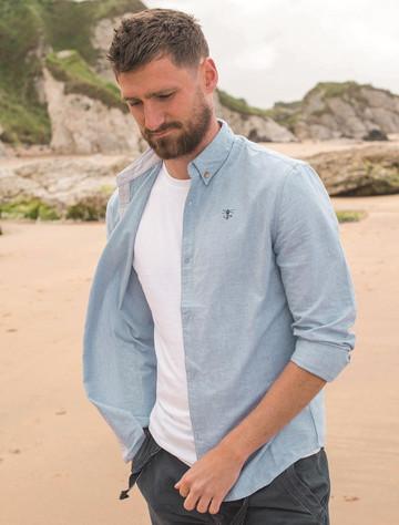 Tide Men's Cotton Shirt - Light Oxford