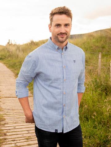 Tide Men's Cotton Shirt - Blue Stripe