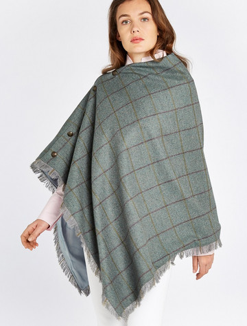 Hazelwood Pure Wool Tweed Poncho - Sorrel