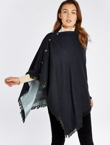 Hazelwood Pure Wool Tweed Poncho - Navy