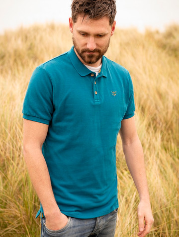 Pier Cotton Short Sleeve Polo Shirt - Petrol
