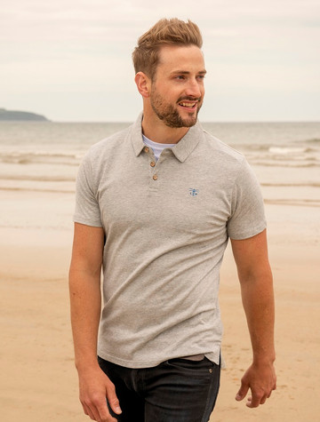 Pier Cotton Short Sleeve Polo Shirt - Grey
