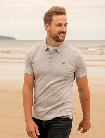 Pier Cotton Short Sleeve Polo Shirt - Grey