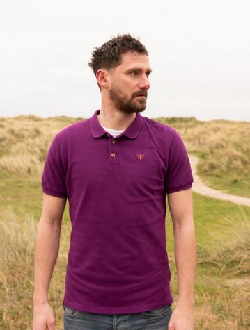 Pier Cotton Short Sleeve Polo Shirt - Grape