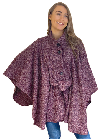 Luxury Belted Wool Tweed Cape - Claret Fleck