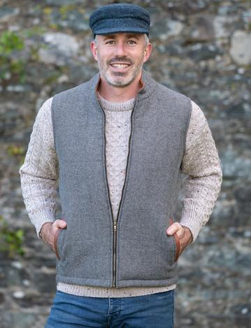 Men's Tweed Body Warmer - Light Grey