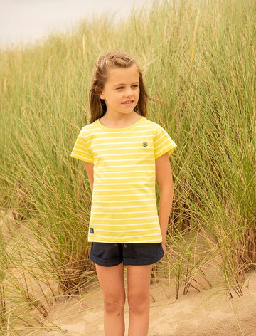 Causeway Girls Short Sleeve T-Shirt - Lemon Stripe