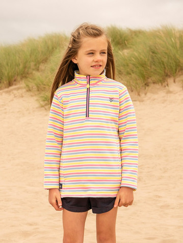Robyn Girls Half-Zip Sweater - Multi-Stripe