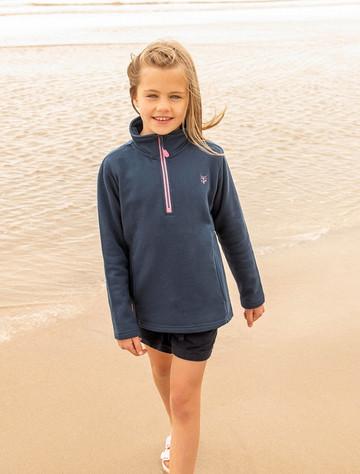 Robyn Girls Half-Zip Sweater - Navy