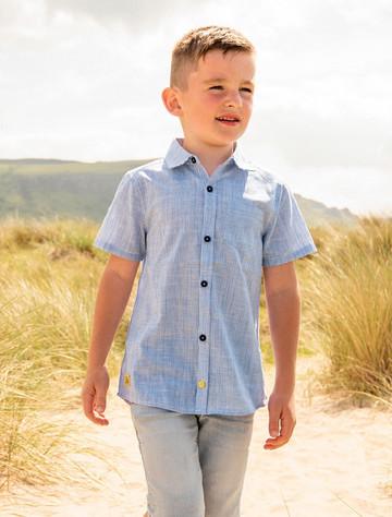 Elliot Boys Boys Short Sleeve Shirt - Blue Stripe